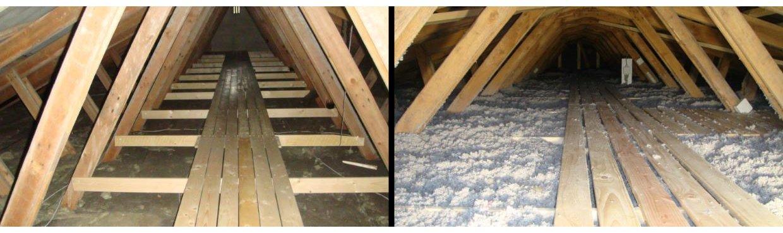 Her ses isolering af loft før og efter