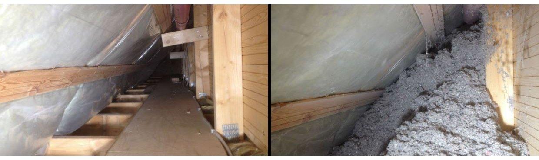 Før og efter billeder af isolering af skunk med papiruld